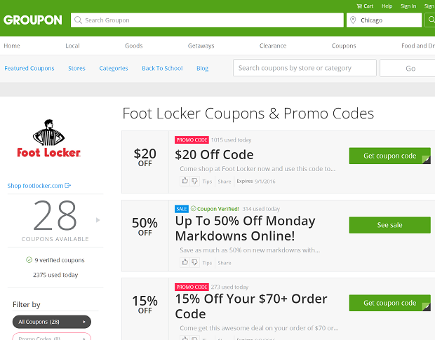 groupon footlocker